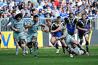 Michael Classens of Bath Rugby is tackled by Dan Cole of Leicester Tigers during the Aviva Premiership match between Bath Rugby and Leicester Tigers at The Recreation Ground on Saturday 20th April 2013 (Photo by Rob Munro)