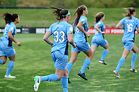 Piscataway, NJ - Sunday April 30, 2017: Erin Simon, Erica Skroski during a regular season National Women's Soccer League (NWSL) match between Sky Blue FC and FC Kansas City at Yurcak Field.