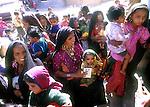 Rabari women bring their children to the Polio Immunization center in the village of Sumerasar, Gujarat, India.