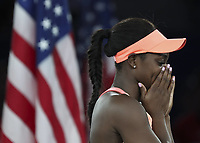 (170910) -- NEW YORK, Sept. 10, 2017 -- Sloane Stephens of the United States reacts during the awarding ceremony after winning the women s singles final match against Madison Keys of the United States at the 2017 US Open in New York, the United States, Sept. 9, 2017. Sloane Stephens won 2-0 to claim the title. ) <br /> Foto Imago/Insidefoto