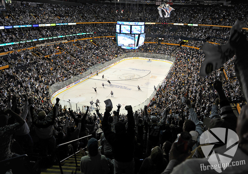 The Nashville Predators host the Chicago Blackhawks in Game Three of the Western Conference Quarterfinals of the Stanley Cup Playoffs at the Bridgestone Arena on Tuesday, April 20, 2010. (Photo by Frederick Breedon)