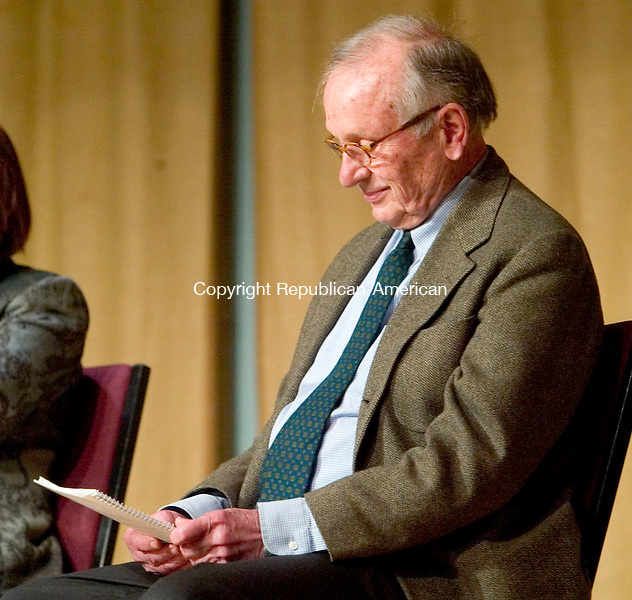 SOUTHBURY, CT- 26 APRIL 2008- 042608JT09- <br /> A. R. &quot;Pete&quot; Gurney, reads along with four other actors during a performance play reading of his play &quot;Ancestral Voices,&quot; presented by the Heritage Village Theater Guild in Southbury on Saturday. The other actors were Sada Thompson, Jack Gilpin, Ann McDonough and Mark Sullivan. <br /> Josalee Thrift / Republican-American