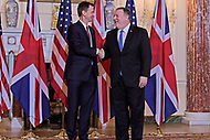 Washington, DC - January 24, 2019:  U.S. Secretary of State Michael Pompeo meets with U.K. Foreign Secretary Jeremy Hunt at the Department of State January 24, 2019.  (Photo by Lenin Nolly/Media Images International)