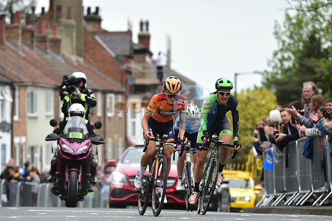Anna Van Der Breggen (NED) and Elizabeth Deignan (ENG) Boels Dolmans and Danielle King (GBR) Cylance in action during the ASDA Women's Tour de Yorkshire 2017 running 122.5km from Tadcaster to Harrogate, England. 29th April 2017. <br /> Picture: ASO/P.Ballet | Cyclefile<br /> <br /> <br /> All photos usage must carry mandatory copyright credit (&copy; Cyclefile | ASO/P.Ballet)