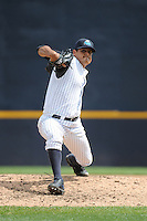 Trenton Thunder  pitcher James Pazos (45) during game against the Altoona Curve at ARM & HAMMER Park on August 6, 2014 in Trenton, NJ.  Trenton defeated Altoona 7-3.  (Tomasso DeRosa/Four Seam Images)