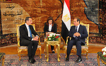 Egyptian President Abdel Fattah al-Sisi meets with Austrian Chancellor Christian Kern, in Cairo, Egypt, on May 24, 2017. Photo by Egyptian President Office