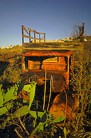 Rusty truck amongst field of prickly pears,Tenerife, Canary Islands