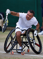 July 5, 2014, United Kingdom, London, Tennis, Wimbledon, AELTC, Wheelchairtennis, Stephane Houdet (FRA)<br /> Photo: Tennisimages/Henk Koster