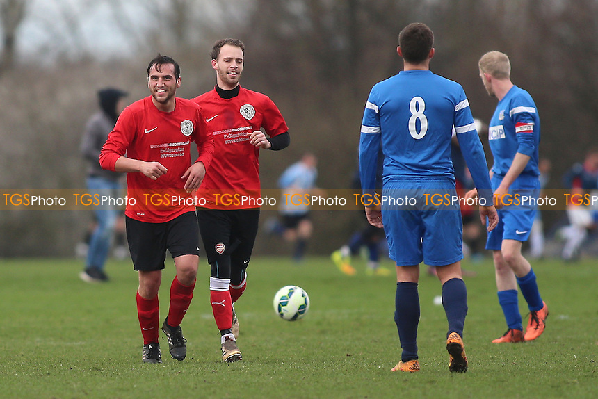 Wenlock score their second goal during Wenlock Arms (red) vs Gladstone Wanderers, Hackney & Leyton Sunday League Jack Morgan Cup Semi-Final Football at Hackney Marshes on 26th February 2017