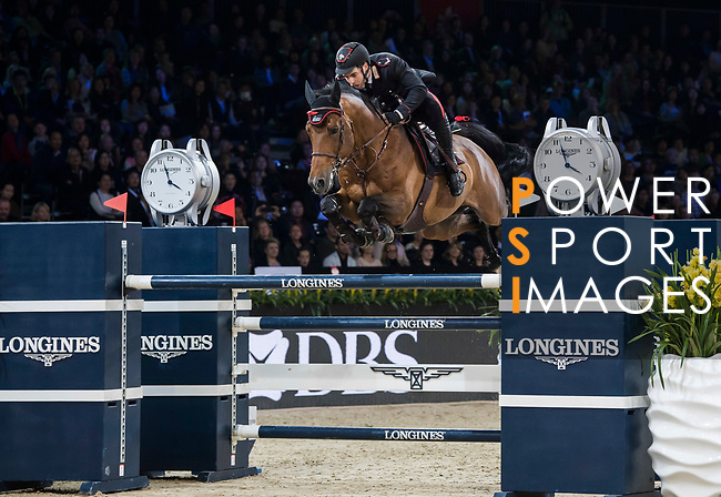 Emanuele Gaudiano of Italy riding Jamar d'Ysenbeeck Z competes in the Longines Grand Prix during the Longines Masters of Hong Kong at AsiaWorld-Expo on 11 February 2018, in Hong Kong, Hong Kong. Photo by Diego Gonzalez / Power Sport Images