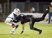 NWA Democrat-Gazette/CHARLIE KAIJO Bentonville West High School Bryan Smith (17) fumbles the ball during a football game, Friday, November 2, 2018 at Bentonville High School in Bentonville.