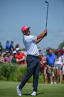 Sebastian Munoz (COL) watches his tee shot on 8 during round 4 of the AT&T Byron Nelson, Trinity Forest Golf Club, Dallas, Texas, USA. 5/12/2019.<br /> Picture: Golffile   Ken Murray<br /> <br /> <br /> All photo usage must carry mandatory copyright credit (© Golffile   Ken Murray)