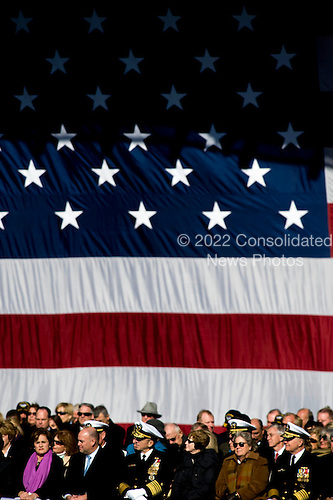 Norfolk, VA - January 10, 2009 -- Ships sponsor Dorothy Bush Koch, her husband Bobby; U.S. Navy Adm. Mike Mullen, chairman of the Joint Chiefs of Staff and his wife Deborah; Ellen Roughead and Chief of Naval Operations, Adm. Gary Roughead, attend the commissioning ceremony for the aircraft carrier USS George H.W. Bush (CVN 77) at Naval Station Norfolk, Va. The Navy's newest, and final, Nimitz-class aircraft carrier is named after World War II naval aviator and the 41st president of the United States George H.W. Bush. .Credit: Chad J. McNeeley - U.S. Navy via CNP