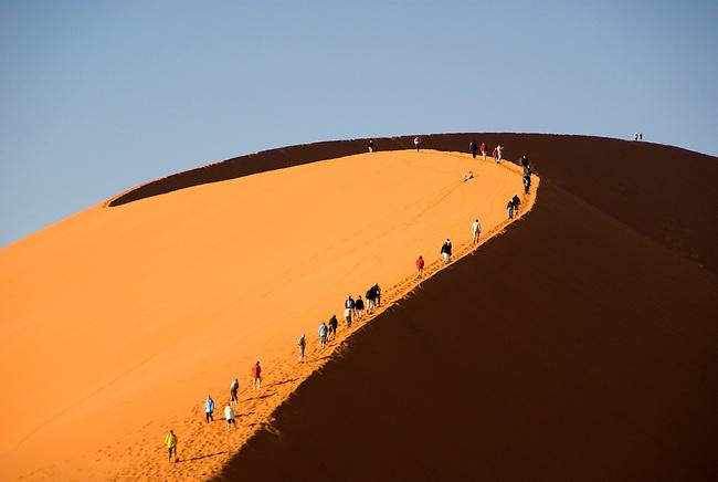 Climbers on Dune 45 at Sossusvlei sand dune, Naukluft Park, Namibia