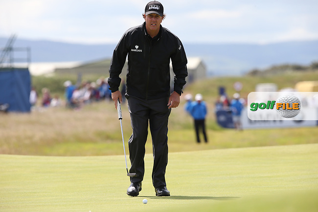 Phil Mickelson (USA) putting on the 3rd during Round Three of the 2015 Aberdeen Asset Management Scottish Open, played at Gullane Golf Club, Gullane, East Lothian, Scotland. /11/07/2015/. Picture: Golffile | David Lloyd<br /> <br /> All photos usage must carry mandatory copyright credit (&copy; Golffile | David Lloyd)