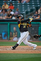Roberto Pena (31) of the Salt Lake Bees bats against the Reno Aces at Smith's Ballpark on June 27, 2019 in Salt Lake City, Utah. The Aces defeated the Bees 10-6. (Stephen Smith/Four Seam Images)