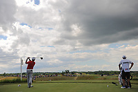 Xander Schauffele (USA) watches his tee shot on 7 during Sunday's round 4 of the 117th U.S. Open, at Erin Hills, Erin, Wisconsin. 6/18/2017.<br /> Picture: Golffile | Ken Murray<br /> <br /> <br /> All photo usage must carry mandatory copyright credit (&copy; Golffile | Ken Murray)