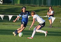 Kansas City, MO - Saturday July 16, 2016: Erika Tymrak, Victoria Huster during a regular season National Women's Soccer League (NWSL) match at Swope Soccer Village.