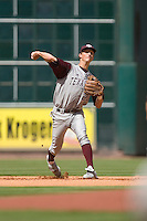 Shortstop Adam Smith #20 of the Texas A&M Aggies makes a throw to first base versus the UC-Irvine Anteaters in the 2009 Houston College Classic at Minute Maid Park February 27, 2009 in Houston, TX.  The Aggies defeated the Anteaters 9-2. (Photo by Brian Westerholt / Four Seam Images)