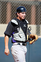 Colorado Rockies minor league catcher Ryan Casteel #17 during an instructional league intrasquad game at the Salt River Flats Complex on October 5, 2012 in Scottsdale, Arizona.  (Mike Janes/Four Seam Images)
