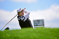 Shanshan Feng (CHN) watches her tee shot on 2 during Sunday's final round of the 72nd U.S. Women's Open Championship, at Trump National Golf Club, Bedminster, New Jersey. 7/16/2017.<br /> Picture: Golffile | Ken Murray<br /> <br /> <br /> All photo usage must carry mandatory copyright credit (&copy; Golffile | Ken Murray)