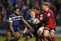 Tom Woolstencroft of Saracens takes on the Bath Rugby defence. Gallagher Premiership match, between Bath Rugby and Saracens on March 8, 2019 at the Recreation Ground in Bath, England. Photo by: Patrick Khachfe / Onside Images