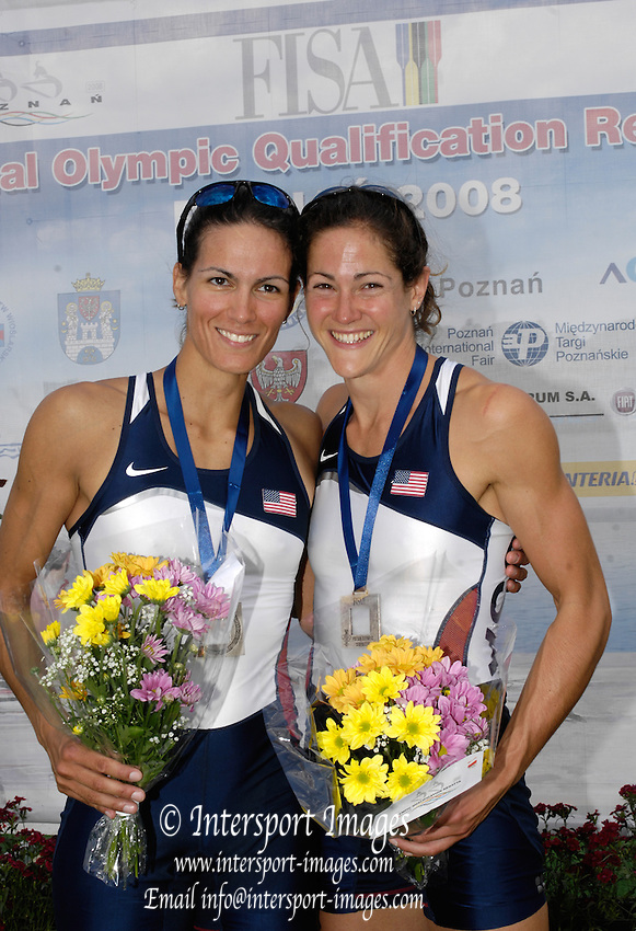 Poznan, POLAND, USA LW2X, left Renee HYKELL and Jen GOLDSACK  with their Silver medals after securing Olympic selection for the 2008 Beijing Olympics by winning the silver medal the  lightweight women's double sculls,  at the 2008 Olympic Qualification  Rowing Regatta. Malta Rowing Course on Wednesday, 18/06/2008. [Mandatory Credit:  Peter SPURRIER / Intersport Images] . Rowing Course:Malta Rowing Course, Poznan, POLAND