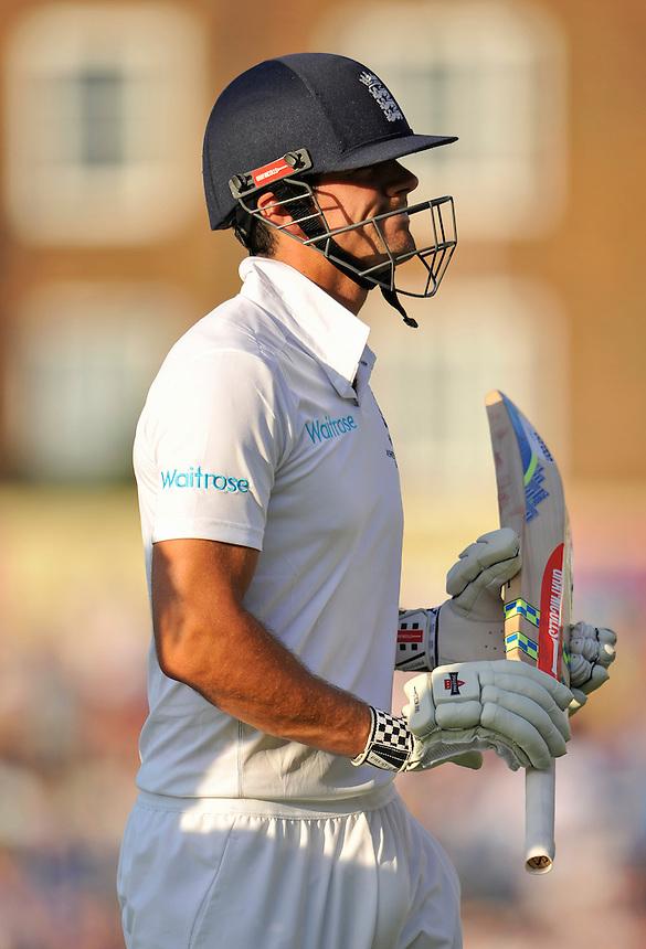 England's Alastair Cook dejected after being dismissed for 85<br /> <br /> Photographer Ashley Western/CameraSport<br /> <br /> International Cricket - Investec Ashes Test Series 2015 - Fifth Test - England v Australia - Day 3 - Saturday 22nd August 2015 - Kennington Oval - London<br /> <br /> &copy; CameraSport - 43 Linden Ave. Countesthorpe. Leicester. England. LE8 5PG - Tel: +44 (0) 116 277 4147 - admin@camerasport.com - www.camerasport.com