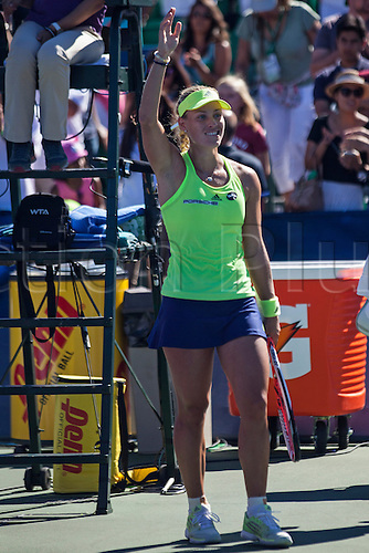 09.08.2015. Stanford, California, USA.  Angelique Kerber (GER) waves to the crowd after defeating Karolina Pliskova (CZE) in the finals of the Bank of the West Classic at Stanford University's Taube Family Tennis Center in Stanford, Calif.