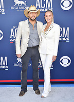 LAS VEGAS, CA - APRIL 07: Jason Aldean (L) and Brittany Kerr attend the 54th Academy Of Country Music Awards at MGM Grand Hotel &amp; Casino on April 07, 2019 in Las Vegas, Nevada.<br /> CAP/ROT/TM<br /> &copy;TM/ROT/Capital Pictures