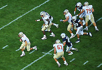 Sept. 19, 2009; Provo, UT, USA; Florida State Seminoles quarterback (7) Christian Ponder runs for a touchdown in the third quarter against the BYU Cougars at LaVell Edwards Stadium. Florida State defeated BYU 54-28. Mandatory Credit: Mark J. Rebilas-