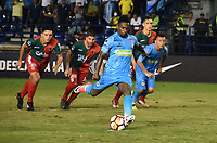 MONTERIA - COLOMBIA, 10-04-2018: Pablo Rojas jugador de Jaguares de Córdoba  de Colombia convierte de tiro penalty su gol contra  el Boston River de Uruguay   en partido por la Copa Conmebol  Sudamericana llave 16 , jugado en el estadio Municipal  Jaraguay de Monteria. / Pablo Rojas player of Jaguares of Cordoba  of Colombia scores his goal agaisnt of Boston River of Uruguay  in match for Conmebol Sudamericana Cup , key 16,played in the  Municipal de Monteria Stadium. Photo: VizzorImage / Andrés Felipe López Vargas / Contribuidor