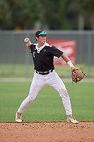Izaac Pacheco (20) during the WWBA World Championship at the Roger Dean Complex on October 12, 2019 in Jupiter, Florida.  Izaac Pacheco attends Friendswood High School in Friendswood, TX and is committed to Texas A&M.  (Mike Janes/Four Seam Images)