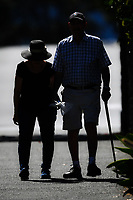 1st April 2020, Kohi Beach, Auckland, New Zealand;  An elderley couple out walking during the lockdown due to Covid-19. Kohimarama, Auckland, New Zealand on Wednesday 1 April 2020.