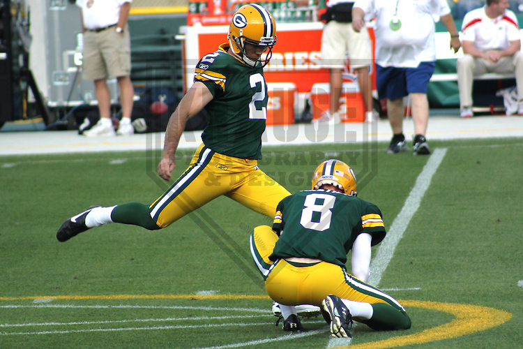 GREEN BAY - SEPTEMBER 2011: Mason Crosby (2) of the Green Bay Packers during a game on September 1, 2011 at Lambeau Field in Green Bay, Wisconsin. (Photo by Brad Krause)