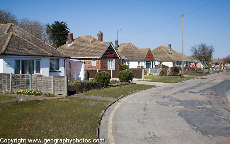 Bungalow private owner occupied housing at Frinton on Sea, Essex, England