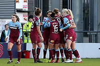 Kenza Dali of West Ham United women is congratulated after scoring the first goal during Tottenham Hotspur Women vs West Ham United Women, Barclays FA Women's Super League Football at the Hive Stadium on 12th January 2020