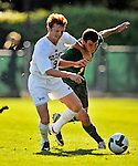 22 September 2008: Colgate University Raiders' midfielder/defenseman Jeff Leach, a Sophomore from New Canaan, CT, battles University of Vermont Catamounts' midfielder/backfielder Connor O'Brien, a Sophomore from Richmond, VT at Centennial Field, in Burlington, Vermont. The Raiders edged out the Catamounts 2-1, handing the Soccer Catamounts their first home loss of the 2008 season. ..Mandatory Photo Credit: Ed Wolfstein Photo