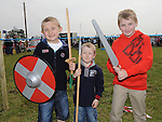 Charlie and Johnny Reynolds and Cathal Small pictured at the Annagassan Viking Festival. Photo: Colin Bell/pressphotos.ie