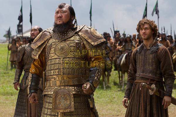 Daulet Abdigaparov, Benedict Wong and Lorenzo Richelmy<br /> in Marco Polo (2014&ndash; )    <br /> (Season 1)<br /> *Filmstill - Editorial Use Only*<br /> CAP/NFS<br /> Image supplied by Netflix/Capital Pictures