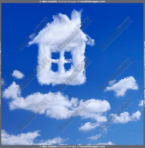 House made by white clouds in blue sky Real estate Property insurance Home ownership Family house Home renovation Creative concept