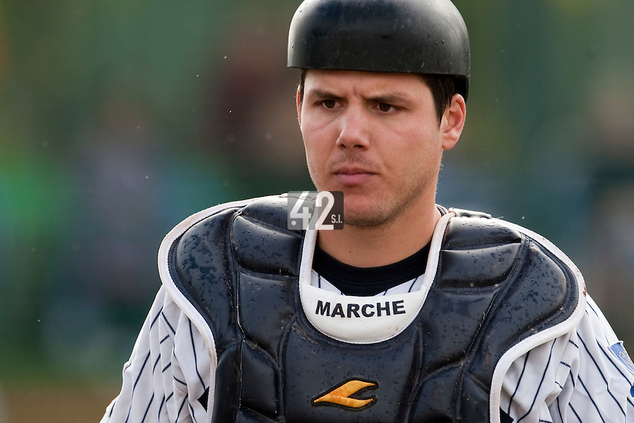 10 october 2009: Boris Marche of Rouen is seen catching during game 4 of the 2009 French Elite Finals won 7-2 by Huskies of Rouen over Lions of Savigny, at Stade Jean Moulin stadium in Savigny sur Orge, near Paris, France. Rouen wins the 2009 France championship, his sixth title.