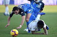 Ismael Bennacer of Empoli and Kwadwo Asamoah of Internazionale compete for the ball during the Serie A 2018/2019 football match between Empoli and Internazionale at stadio Castellani, Empoli, December, 29, 2018 <br /> Foto Andrea Staccioli / Insidefoto