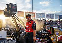 Sep 29, 2017; Madison , IL, USA; Scott Okuhara crew member for NHRA top fuel driver Leah Pritchett during qualifying for the Midwest Nationals at Gateway Motorsports Park. Mandatory Credit: Mark J. Rebilas-USA TODAY Sports
