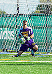 28 September 2013: University of Vermont Catamount Goalkeeper Conor Leland, a Senior from Richmond, VT, in action against the Hartwick College Hawks at Virtue Field in Burlington, Vermont. The Catamounts shut out the visiting Hawks 1-0 on Salvatore Borea's goal in the second half of play. Mandatory Credit: Ed Wolfstein Photo *** RAW (NEF) Image File Available ***