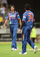 India's Ishant Sharma and Zaheer Khan during 2nd Twenty20 cricket match match between New Zealand Black Caps and West Indies at Westpac Stadium, Wellington, New Zealand on Friday, 27 February 2009. Photo: Dave Lintott / lintottphoto.co.nz