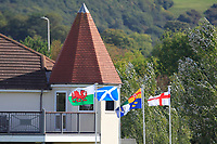 Flags of the four nations flying at the club house during Round 2 Singles of the Men's Home Internationals 2018 at Conwy Golf Club, Conwy, Wales on Thursday 13th September 2018.<br /> Picture: Thos Caffrey / Golffile<br /> <br /> All photo usage must carry mandatory copyright credit (&copy; Golffile | Thos Caffrey)
