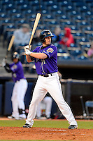 Akron Aeros designated hitter Kyle Bellows #11 during a game against the Trenton Thunder on April 22, 2013 at Canal Park in Akron, Ohio.  Trenton defeated Akron 13-8.  (Mike Janes/Four Seam Images)