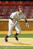 James Ramsey #23 of the Florida State Seminoles follows through on his swing against the Wake Forest Demon Deacons at Wake Forest Baseball Park on March 24, 2012 in Winston-Salem, North Carolina.  The Seminoles defeated the Demon Deacons 3-2.  (Brian Westerholt/Four Seam Images)