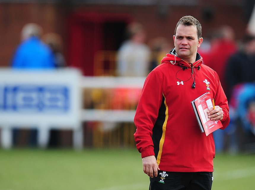 Wales&rsquo; Head Coach Rhys Edwards during the pre match warm up<br /> <br /> Photographer Kevin Barnes/CameraSport<br /> <br /> International Women's Rugby Union - RBS Women's Six Nations Championships 2016 Round 5 - Wales Women v Italy Women - Sunday 20th March 2016 - Aberavon RFC, Port Talbot<br /> <br /> &copy; CameraSport - 43 Linden Ave. Countesthorpe. Leicester. England. LE8 5PG - Tel: +44 (0) 116 277 4147 - admin@camerasport.com - www.camerasport.com